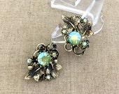 Fall Leaves Rhinestone Earrings - Vintage Rhinestone Clip On Earrings - Green Aurora Rhinestone Earrings