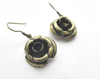 Brass Rose Dangle Earrings Large earrings, Antiqued Dangle earrings. Oxidized brass earrings
