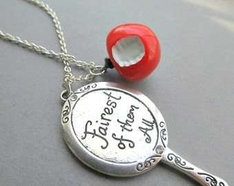 Snow White Fairest One Of them All NEcklace And Poisoned Apple