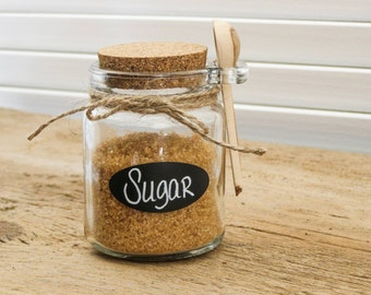 Sugar Jar Chalkboard Canister Tea Coffee Herb Containers Kitchen Organization with Wooden Spoons Sugar Bowl Spice Jar