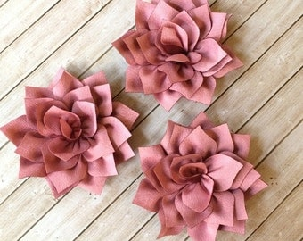 "Mauve Fabric Flowers Soft Poinsettia Flowers 3"" - 7cm Kanzashi DIY Baby Headband Supplies Wholesale flowers embellishment applique Lotus"