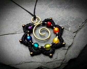 CHAKRA Necklace Rainbow Mandala Hippie Flower Pendant Brass Wirework Gypsy Jewelry Wire Wrapped Brass Necklace Gold Beaded Colorful Spiral