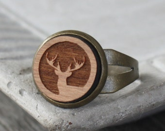 Wood Stag Ring - Cherry Wood Laser Engraved Deer - adjustable ring, brass ring, totem ring, woodland ring, wood ring, stag ring