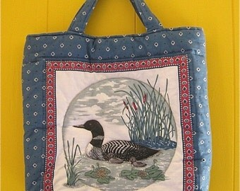 on sale Handmade Quilted Bag with Ducks and Tribal Print Vintage Woodland Farmhouse Style Tote