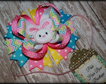 Baby's first Easter Hair bow Headband - Easter bunny hair bow - hair bow or headband - Easter hair bow - Easter Head band