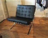 Leather Barcelona Style Chair Mid Century Modern