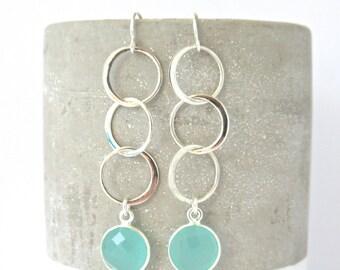 Gemstone Triple Circle Dangle Earrings