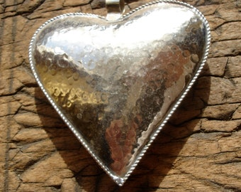 Large Moroccan  heart hollow cushion  hand hammered  pendant