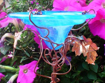 OFFICE Garden Gift, Aqua, stained glass BUTTERFLY FEEDER,  Aqua, copper, garden stake