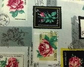 Rose stamp, gray, fat quarter, pure cotton fabric