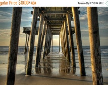 SALE 20% OFF Under the Pier, Ocean City, New Jersey Shore, Color Photograph, Beach Decor, Ocean, Summer Morning, Sand, Blue Sky, Art Print