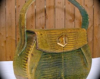 RESERVED for Casey Lane Vintage Snakeskin Purse Green