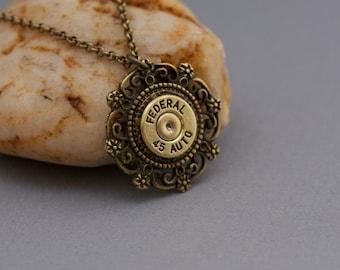 Choice 45 Auto Bullet Necklace-Winchester 45 Auto-Federal 45 Auto Jewelry-Remington Peters 45 Auto-Speer-Blazer-Hornady-Swarovski Element