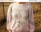 SALE Pink Knitted Sweater/Rose applique Blouse Pearl beaded