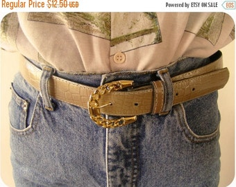 SALE Vintage faux crocodile leather BELT  with Gold Chain buckle
