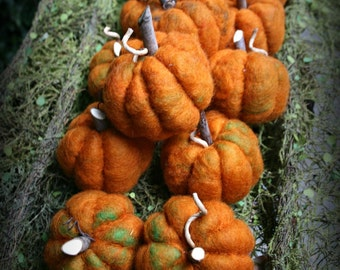 Three Felted Wool Pumpkins -Fall Decoration, Harvest Decor, Thanksgiving Decor - Ready To Ship