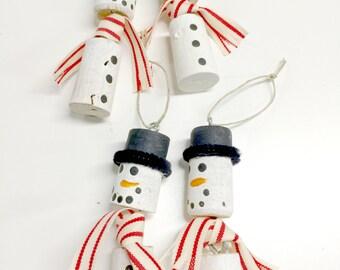 Repurposed Cork Snowmen Ornaments