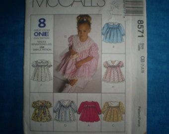McCalls 8571 Size Toddlers Dress 1-2-3..