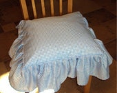 Kitchen - Nursery Seat Cushion Cover Gingham checks- Ruffled Edge with Bow Ties - 18 x 18 inches