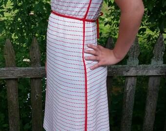 Lovely Mod Poly Polka Dot Dress Mod Red and White Shift Dress Size Large