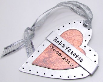 Personalized Ornament - Hand Stamped Mixed Metal Heart Ornament with Cold Connections and Rivets - Couple Ornament - Wedding Keepsake