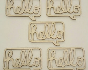 5pcs Wooden Hello Speech Bubble Shape Zakka DIY Blanks Tile - Natural Wood Pendant Charms or Card Toppers