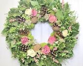 Dried Floral Wreath, Wall Decor, Dried Flowers, Woodland Wreath