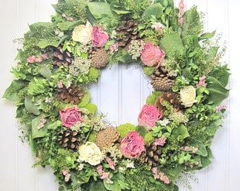 Dried Floral Wreath, Wall Decor, Dried Flowers, Woodland Wreath