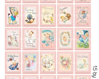 Digital Clipart, instant download, Vintage Baby Card Images babies baby girl stamps--8.5 by 11--Digital Collage Sheet  2404