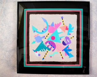 Abstract vintage 90s original collage of the  geometric composition.Made by Rick Tunkel.