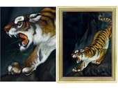 "RESERVED FOR JILL                              velvet painting, tiger, framed, black velvet, retro, jungle, 27"", large, beautifully rendered"