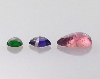 Chrome Diopside, Iolite, and Pink Tourmaline Cabochon Pendant Set: Mossy Green, Purple Violet, and Warm Pink Gemstones, loose gemstones