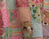 rag quilt THROW - reversible - Ready To Ship