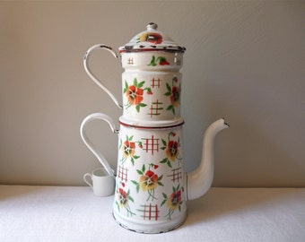 french antique enamel coffee pot -shabby chic lovely french enamelware - Enamel coffee pot - romantic cottage chic