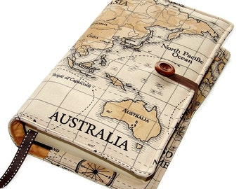 Large Bible Cover in World Map Fabric featuring Australia, other continents available, Book Cover, UK Seller, for Hardbacks & Paperbacks