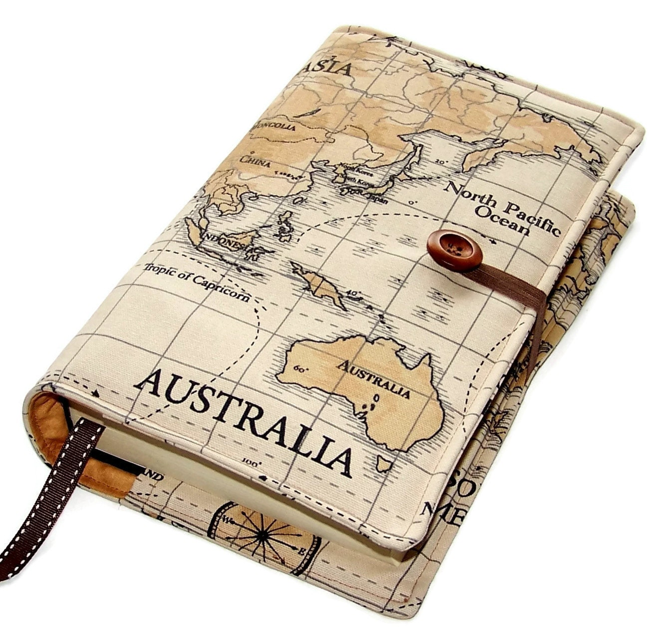Large Bible Cover In World Map Fabric Featuring Australia, Other Continents  Available, Book Cover