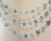 Twinkle twinkle Little Star Birthday Decorations -Blue & Silver Baby shower Decor- Baby Boy Banner- 10 foot Star Garland- Custom colors