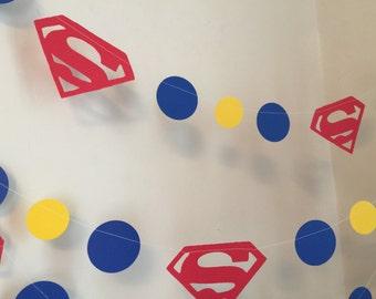 Superman Garland - Super Man inspired banner - Super Man Birthday  Decoration - Superman Themed Party - 10 foot  Garland-Boys Room Decor