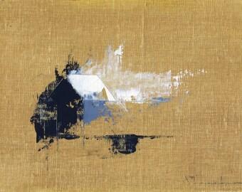 Bungalow Divine — Original Oil Painting, Landscape Painting, Abstract Landscape, Original Painting, Abstract Oil Painting, Fine Art, 5 x 7
