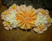 Peachy Pansy Ribbon Flower Applique Millinery