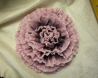 Ruffled Ribbon Roses Assorted Colors Millinery Applique