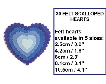 Die cut felt heart shape scalloped edge pre cut felt shapes