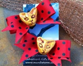Kitties and Bows Hair clips Choose Your Colors