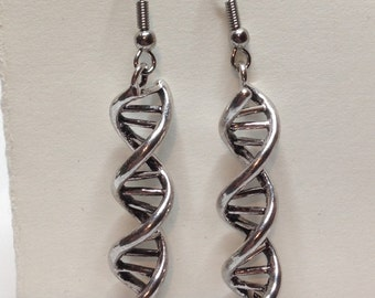 Gorgeous Geekery Silver-Plated DNA Earrings - Laboratory, Science Jewelry, Chemistry, Biology, Molecule, Scientist, Technician - Great Gift!