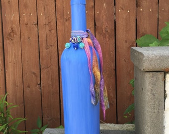 Periwinkle Blue Water Color Upcycle Wine Bottle, Vase, Fragrance Diffuser, Hand Painted, Home Decor