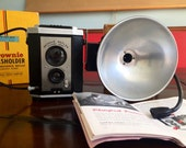 1950s Brownie Reflex Camera Synchro Model and Flasholder Flash Arm with Boxes Retro Photography Eastman Kodak Co