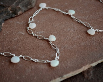 Opal Necklace, Delicate Sterling Silver Chain