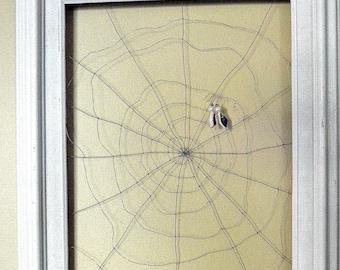 Framed Wall Art Jewelry Organizer Holder Spider web -Useful Wire Art