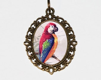 Parrot Necklace, Bird Jewelry, Tropical Birds, Red Parrots, Oval Pendant