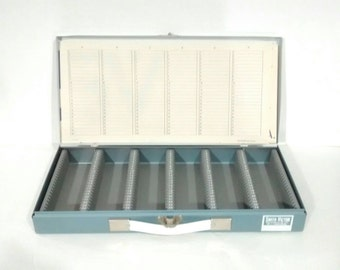 Photo slide case, Vintage Smith-Victor Slide Storage Metal Case SF-1 • Made in USA, photography slide storage,
